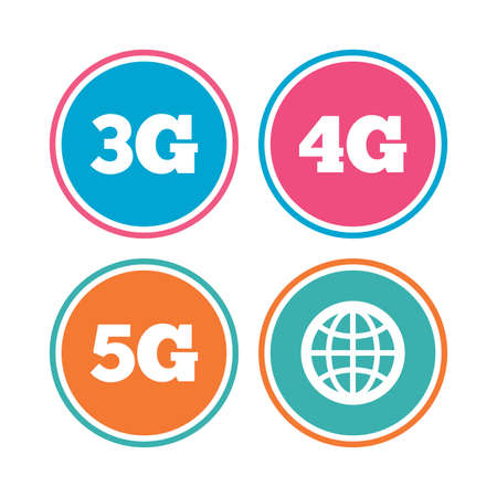 3g: Mobile telecommunications icons. 3G, 4G and 5G technology symbols. World globe sign. Colored circle buttons. Vector