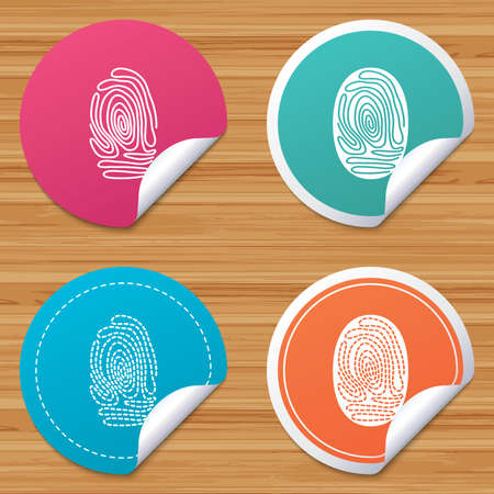 bended: Round stickers or website banners. Fingerprint icons. Identification or authentication symbols. Biometric human dabs signs. Circle badges with bended corner. Vector Illustration