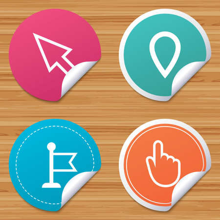 bended: Round stickers or website banners. Mouse cursor icon. Hand or Flag pointer symbols. Map location marker sign. Circle badges with bended corner. Vector