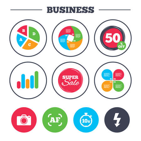 seconds: Business pie chart. Growth graph. Photo camera icon. Flash light and autofocus AF symbols. Stopwatch timer 10 seconds sign. Super sale and discount buttons. Vector