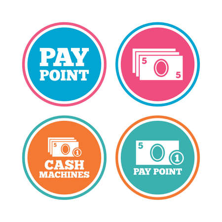 withdrawals: Cash and coin icons. Cash machines or ATM signs. Pay point or Withdrawal symbols. Colored circle buttons. Vector