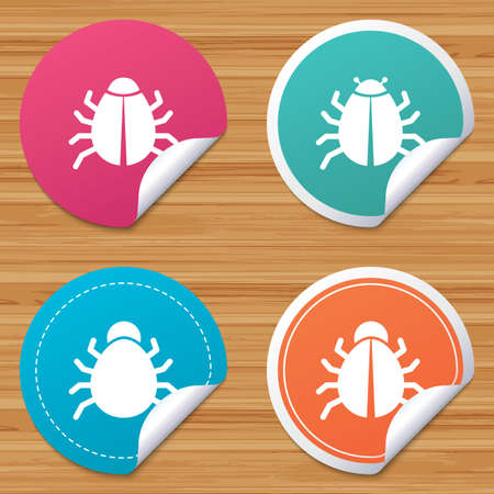 vaccination: Round stickers or website banners. Bugs vaccination icons. Virus software error sign symbols. Circle badges with bended corner. Vector
