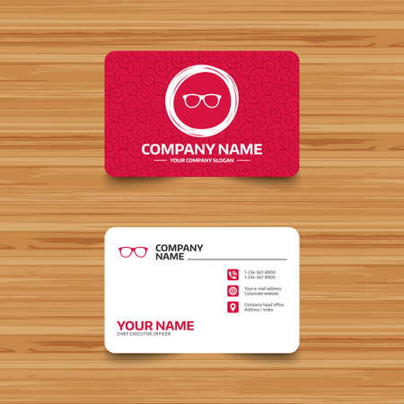 eyeglass frame: Business card template with texture. Retro glasses sign icon. Eyeglass frame symbol. Phone, web and location icons. Visiting card  Vector