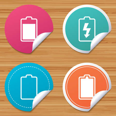 electrochemical: Round stickers or website banners. Battery charging icons. Electricity signs symbols. Charge levels: full, empty. Circle badges with bended corner. Vector