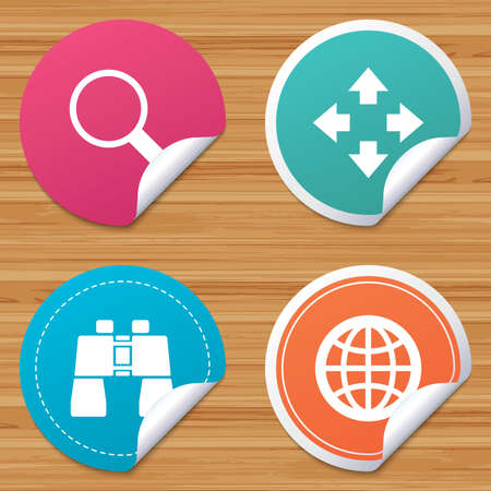 fullscreen: Round stickers or website banners. Magnifier glass and globe search icons. Fullscreen arrows and binocular search sign symbols. Circle badges with bended corner. Vector