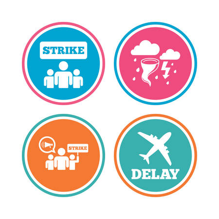 bad weather: Strike icon. Storm bad weather and group of people signs. Delayed flight symbol. Colored circle buttons. Vector