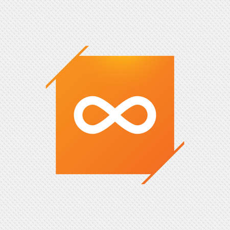 eternally: Limitless sign icon. Infinity symbol. Orange square label on pattern. Vector