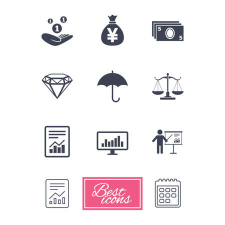 yen note: Money, cash and finance icons. Money savings, justice scales and report signs. Presentation, analysis and umbrella symbols. Report document, calendar icons. Vector