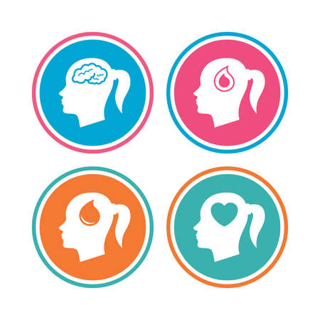 Head with brain icon. Female woman think symbols. Blood drop donation signs. Love heart. Colored circle buttons. Vector Illustration
