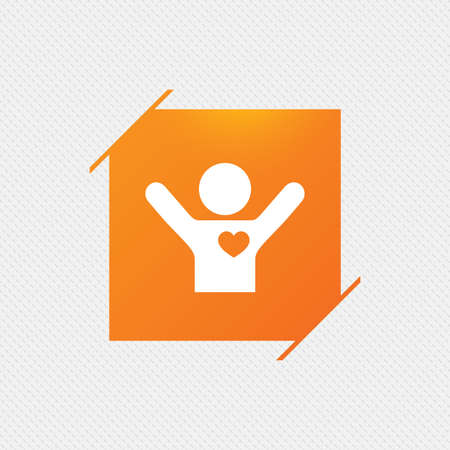 Fans love icon. Man raised hands up sign. Orange square label on pattern. Vector