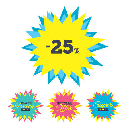 best buy: Sale stickers and banners. 25 percent discount sign icon. Sale symbol. Special offer label. Star labels. Vector