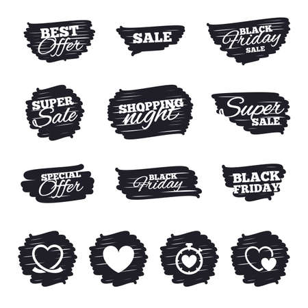 palpitation: Ink brush sale stripes and banners. Heart ribbon icon. Timer stopwatch symbol. Love and Heartbeat palpitation signs. Black friday. Ink stroke. Vector