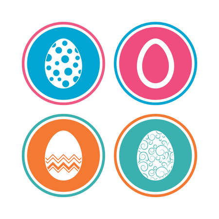 pasch: Easter eggs icons. Circles and floral patterns symbols. Tradition Pasch signs. Colored circle buttons. Vector