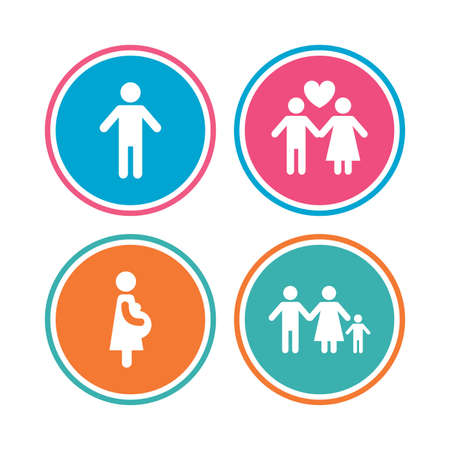 birth sign: Family lifetime icons. Couple love, pregnancy and birth of a child symbols. Human male person sign. Colored circle buttons. Vector Illustration