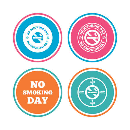 quit: No smoking day icons. Against cigarettes signs. Quit or stop smoking symbols. Colored circle buttons. Vector Illustration