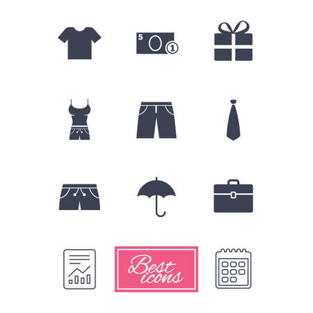 Clothing, accessories icons. T-shirt, business case signs. Umbrella and gift box symbols. Report document, calendar icons. Vector Illustration