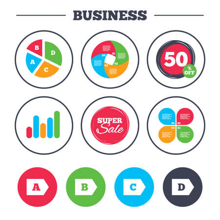 economy class: Business pie chart. Growth graph. Energy efficiency class icons. Energy consumption sign symbols. Class A, B, C and D. Super sale and discount buttons. Vector