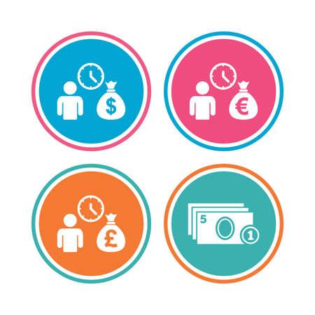 borrow: Bank loans icons. Cash money bag symbols. Borrow money sign. Get Dollar money fast. Colored circle buttons. Vector