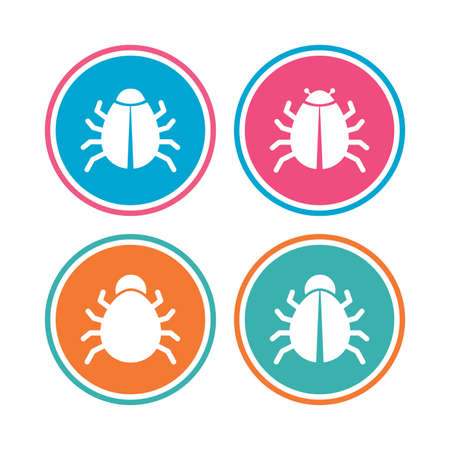 vaccination: Bugs vaccination icons. Virus software error sign symbols. Colored circle buttons. Vector