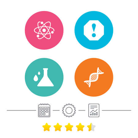 deoxyribonucleic: Attention and DNA icons. Chemistry flask sign. Atom symbol. Calendar, cogwheel and report linear icons. Star vote ranking. Vector