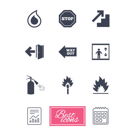 burn out: Fire safety, emergency icons. Fire extinguisher, exit and stop signs. Elevator, water drop and match symbols. Report document, calendar icons. Vector Illustration