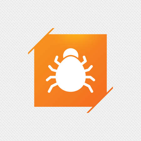 acarus: Bug sign icon. Virus symbol. Software bug error. Disinfection. Orange square label on pattern. Vector