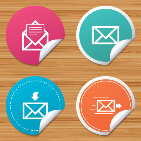 outbox: Round stickers or website banners. Mail envelope icons. Message document delivery symbol. Post office letter signs. Inbox and outbox message icons. Circle badges with bended corner. Vector Illustration