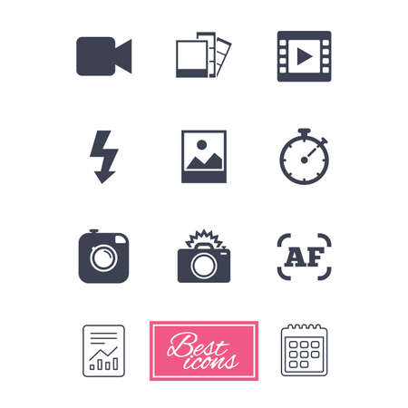 Photo, video icons. Camera, photos and frame signs. Flash, timer and landscape symbols. Report document, calendar icons. Vector