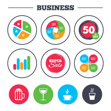 growth hot: Business pie chart. Growth graph. Drinks icons. Coffee cup and glass of beer symbols. Wine glass sign. Super sale and discount buttons. Vector