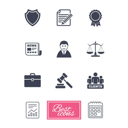 law report: Lawyer, scales of justice icons. Clients, auction hammer and law judge symbols. Newspaper, award and agreement document signs. Report document, calendar icons. Vector Illustration