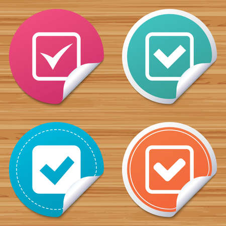 bended: Round stickers or website banners. Check icons. Checkbox confirm squares sign symbols. Circle badges with bended corner. Vector