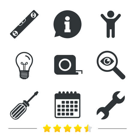 bubble level: Screwdriver and wrench key tool icons. Bubble level and tape measure roulette sign symbols. Information, light bulb and calendar icons. Investigate magnifier. Vector