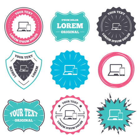 Label and badge templates. Mobile devices sign icon. Notebook with smartphone symbol. Retro style banners, emblems. Vector