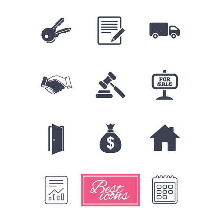 Real estate, auction icons. Handshake, for sale and money bag signs. Keys, delivery truck and door symbols. Report document, calendar icons. Vector Illustration