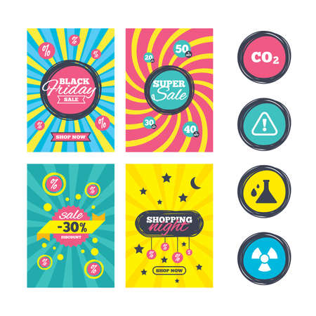 danger carbon dioxide  co2  labels: Sale website banner templates. Attention and radiation icons. Chemistry flask sign. CO2 carbon dioxide symbol. Ads promotional material. Vector