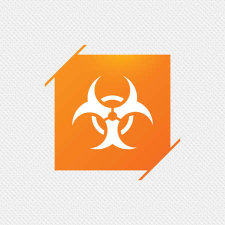 Biohazard sign icon. Danger symbol. Orange square label on pattern. Vector Illustration