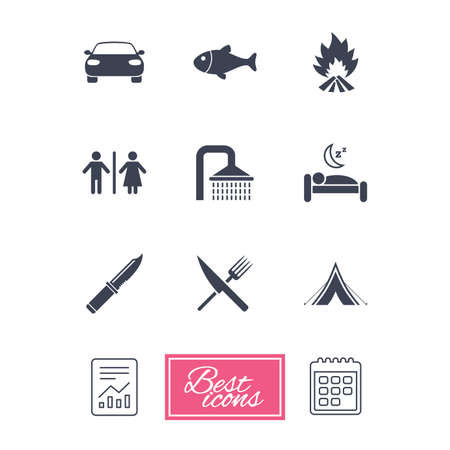 gents: Hiking travel icons. Camping, shower and wc toilet signs. Tourist tent, fork and knife symbols. Report document, calendar icons. Vector Illustration