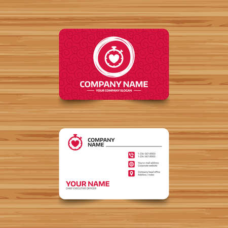 Business card template with texture. Heart Timer sign icon. Stopwatch symbol. Heartbeat palpitation. Phone, web and location icons. Visiting card Vector