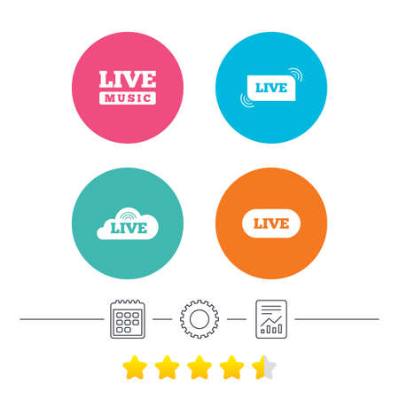 live stream music: Live music icons. Karaoke or On air stream symbols. Cloud sign. Calendar, cogwheel and report linear icons. Star vote ranking. Vector