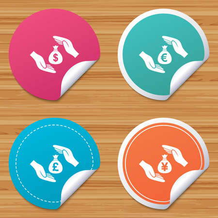 bended: Round stickers or website banners. Hands insurance icons. Money bag savings insurance symbols. Hands protect cash. Currency in dollars, yen, pounds and euro signs. Circle badges with bended corner