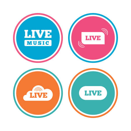 live stream music: Live music icons. Karaoke or On air stream symbols. Cloud sign. Colored circle buttons. Vector