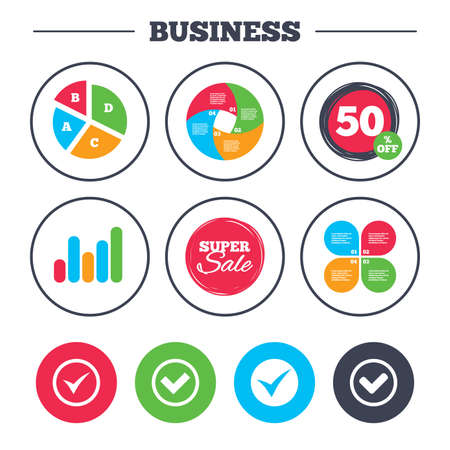 discount buttons: Business pie chart. Growth graph. Check icons. Checkbox confirm circle sign symbols. Super sale and discount buttons. Vector