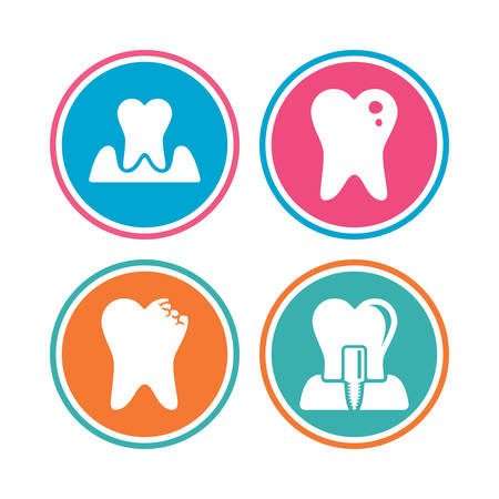 gingivitis: Dental care icons. Caries tooth sign. Tooth endosseous implant symbol. Parodontosis gingivitis sign. Colored circle buttons. Vector Illustration