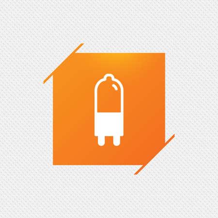 Light bulb icon. Lamp G9 socket symbol. Led or halogen light sign. Orange square label on pattern. Vector