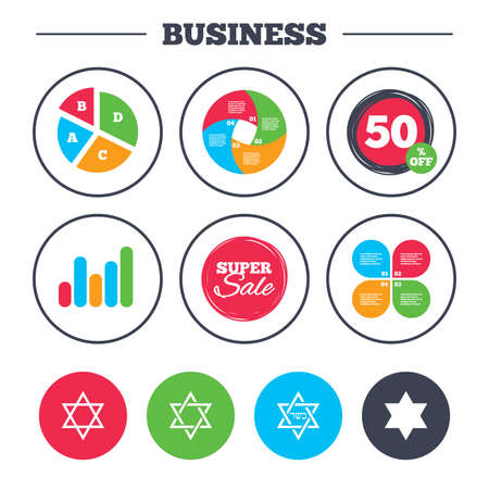 discount buttons: Business pie chart. Growth graph. Star of David sign icons. Symbol of Israel. Super sale and discount buttons. Vector