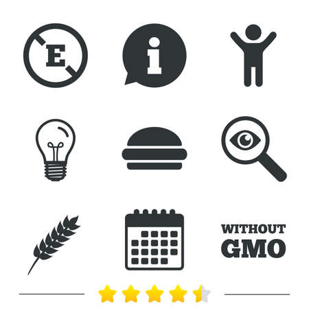 genetically: Food additive icon. Hamburger fast food sign. Gluten free and No GMO symbols. Without E acid stabilizers. Information, light bulb and calendar icons. Investigate magnifier. Vector Illustration