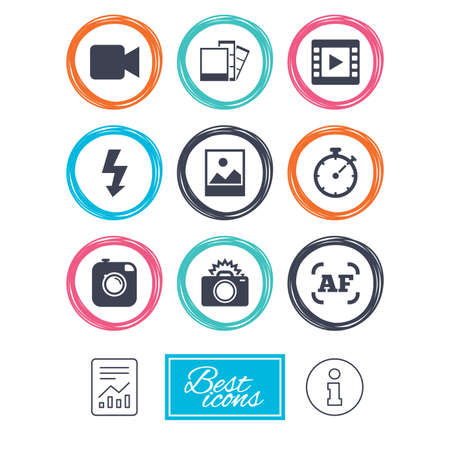 Photo, video icons. Camera, photos and frame signs. Flash, timer and landscape symbols. Report document, information icons. Vector Illustration
