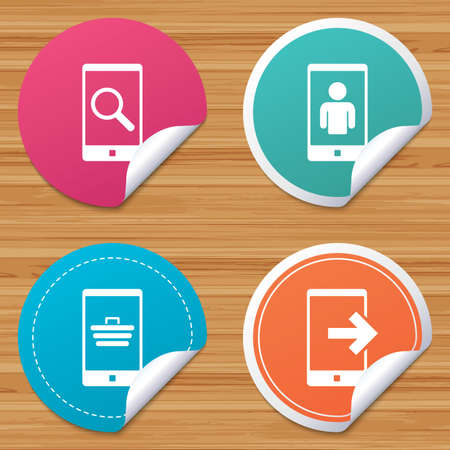outcoming: Round stickers or website banners. Phone icons. Smartphone video call sign. Search, online shopping symbols. Outcoming call. Circle badges with bended corner. Vector Illustration