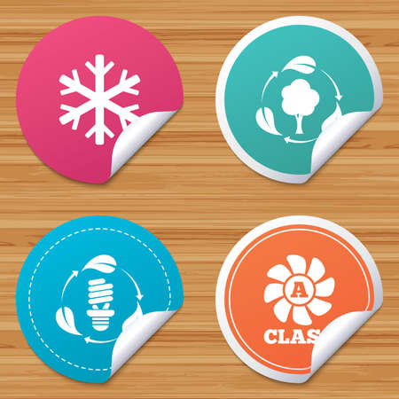 fresh air: Round stickers or website banners. Fresh air icon. Forest tree with leaves sign. Fluorescent energy lamp bulb symbol. A-class ventilation. Air conditioning symbol. Circle badges with bended corner