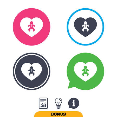crawlers: Love Baby infant sign icon. Toddler boy in pajamas or crawlers body symbol. Child WC toilet. Report document, information sign and light bulb icons. Vector